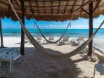 Beach palapa with 2 hammocks