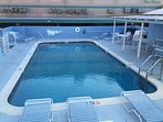 The pool is impeccably maintained with a salt chlorinator and is heated.