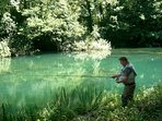 Fly fishing on the River Slunjcica (7 minutes walk away)