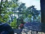 View from the porch eating area on the end of the deck overlooking Linekin Bay