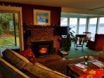 From the Seanook livingroom with the fireplace/stove blazing in early winter