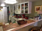 Well stocked Kitchen for families with major & small appliances, utensils, pots/pans, dishes, bowls