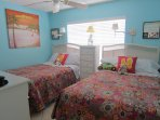 Guest bedroom has TWO FULL SIZE PILLOW TOP beds for extra comfort for families, Flatscreen TV/DVD