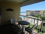 South facing balcony for warm southern exposure in winter.  Seats six guests plus reading chair