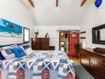 Vaulted ceilings and a barn door