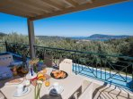 Secluded, serene, amongst olive trees, with panoramic seaviews!