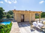 Rooftop terrace with sitting area offers magnificent views of the sea, villages around & nature