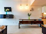 Beautiful interiors; Dining Table is Philippine made Yakal. Good for 5 people.