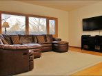 Second Living Room with leather sofa that is both a recliner and a sleeper sofa.