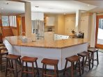 Large Kitchen with bar seating for 9 plus plenty of counter and cabinet space