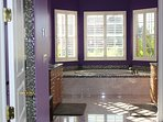 Luxurious master bath with marble, Jacuzzi tub & dual vanities with makeup counter