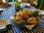 Bread and wine are always part of a Tuscan table!