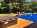 View of new cedar deck and new hot tub!