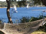 Relax on our hammock and watch all the boats coming into the marina & Gnarly Gar