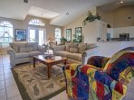 The spacious, open living room offers a flat screen cable TV to watch during your downtime.