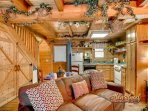 Living area of one bedroom cabin near pigeon forge