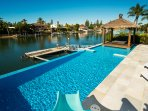 Stunning Solar heated pool with water slide