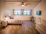 Master bedroom suite with queen bed and queen sleeper sofa