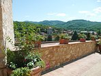 Views overlooking the village of Gaiole & surrounding countryside