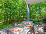 The Private Patio Features a Summer  Outdoor Patio Set