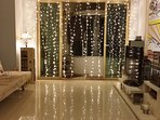Living room with the light curtain on