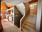 Stairs leading to crows nest bedroom from living area