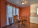 Share a meal at the quaint dining table.