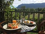 Breakfast on your balcony by the Cathedral Range.