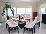 Dining Room for up to 9 with breathtaking views of the Ocean and Lagoon