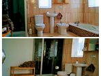 'Sunset' en-suite bathroom with hydromassage bath and shower