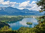 The beautiful Lake Bled from the Ojstrica viewpoint.