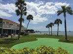 Putting green overlooking the bay