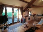 Oak french windows to garden plus kitchen area