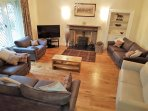 Lounge with Log Burner very spacious with plenty of seating. Large sofa bed with sprung mattress