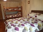 bedroom 4 with double bed and full size single bunk beds