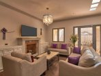 Living room w/gas remote FP, smart TV