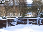 Winter view from front garden to Loch Insh.
