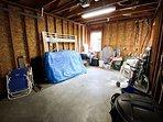 Single car garage with beach toys