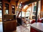 Middle level fully equipped kitchen with a breakfast bar for 2-no dishwasher