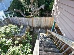 Stairs leading to lower deck area and fenced side yard