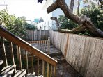 Lower deck area and fenced side yard