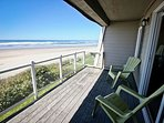 Upper master bedroom balcony with patio chairs and spectacular ocean front views