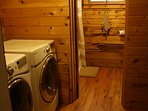 washer and dryer on site and full bathroom on first floor