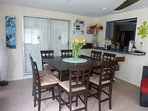 Sun room with 8 seats dining table