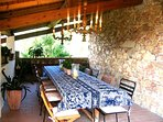 Terrace with dining table for 12 people