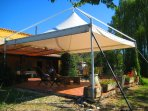Large permanent gazebo gives lots of shade