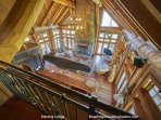 The living room from above at Sterlin Lodge.