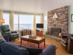 Comfortable front room overlooks the beach below