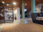 A large living room in the attic
