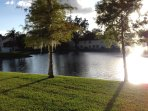 Sunshine on the fountain and lake